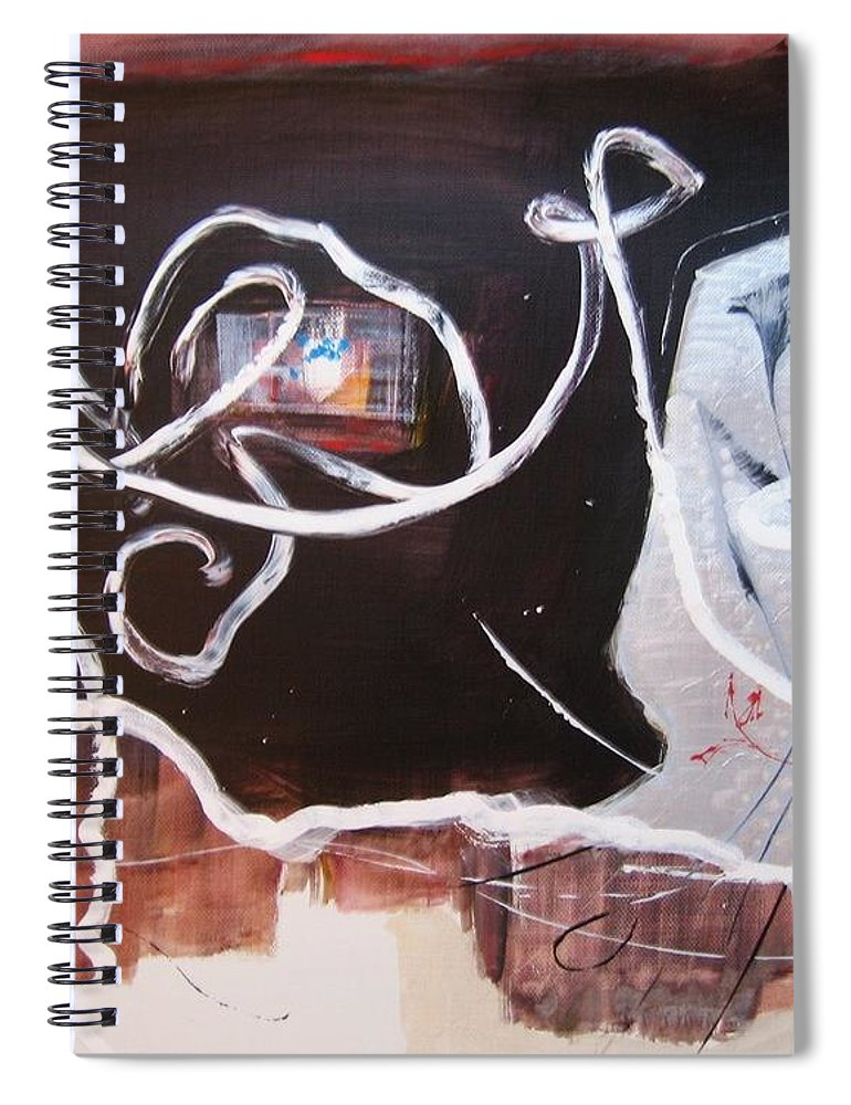 Abstract Paintings Spiral Notebook featuring the painting Hand In Hand by Seon-Jeong Kim