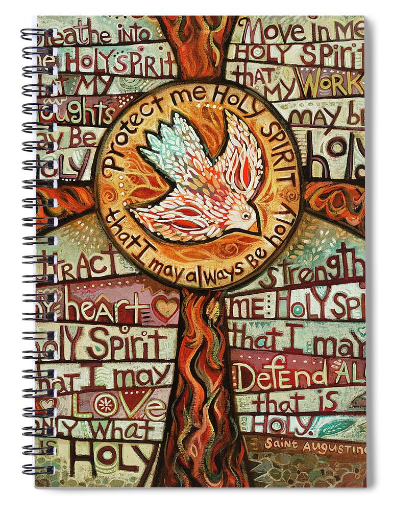 Jen Norton Spiral Notebook featuring the painting Holy Spirit Prayer by St. Augustine by Jen Norton