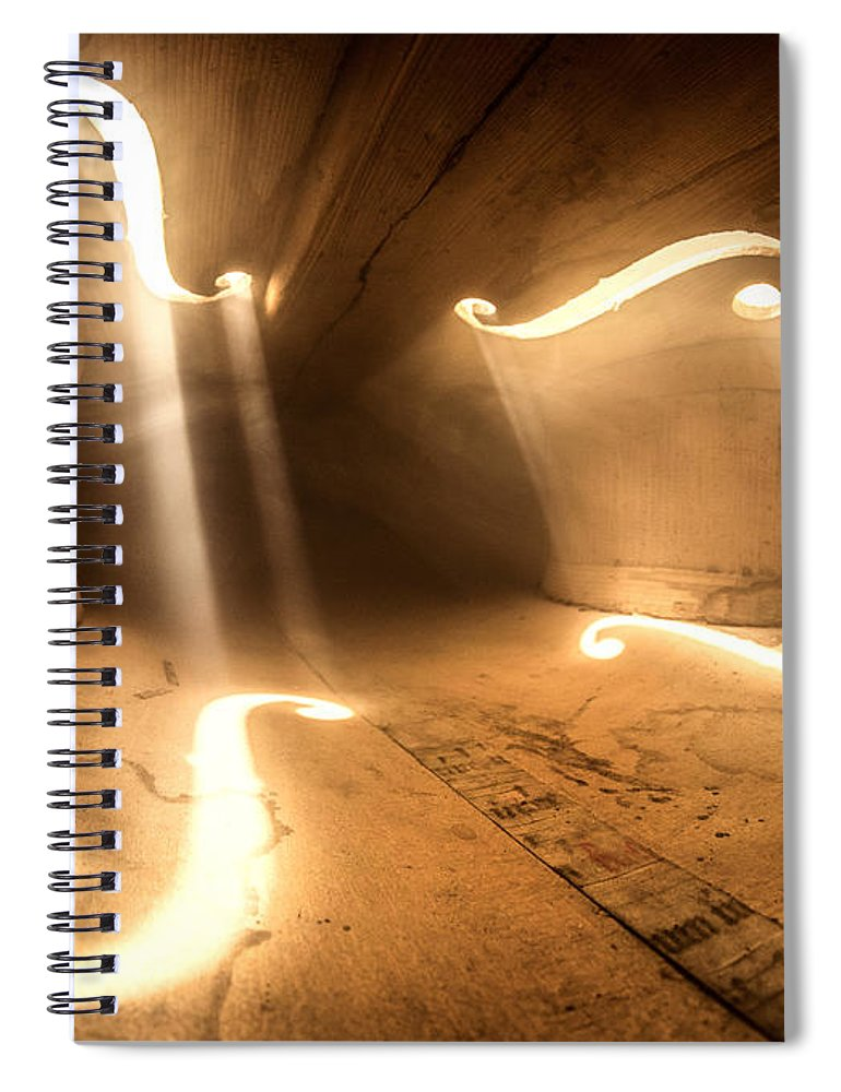 Violin Spiral Notebook featuring the photograph Inside Violin by Adrian Borda