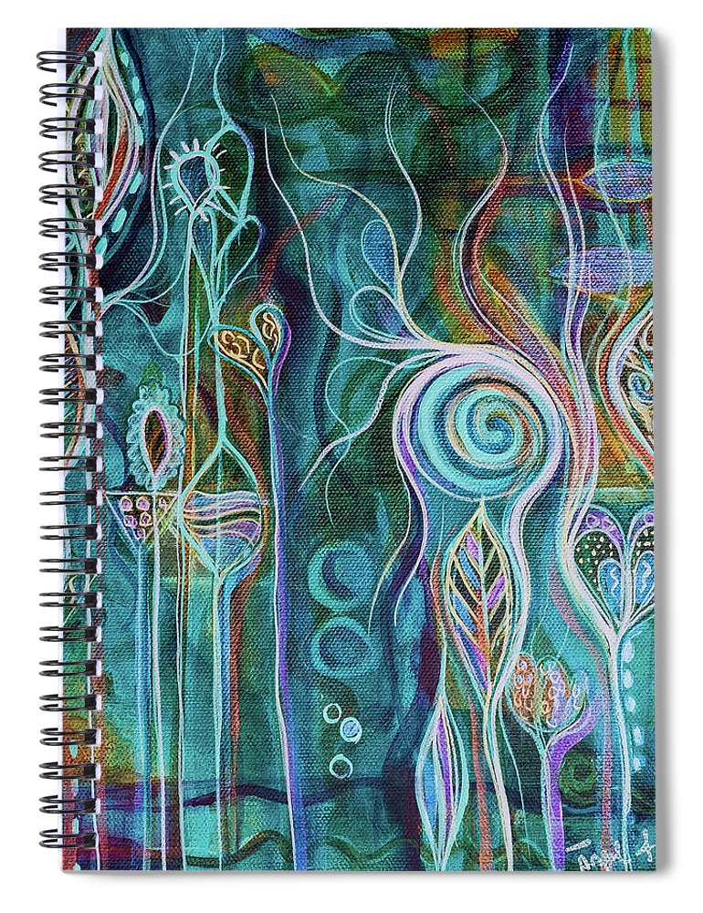 Art Spiral Notebook featuring the painting Itty Bitty Fun by Angel Fritz