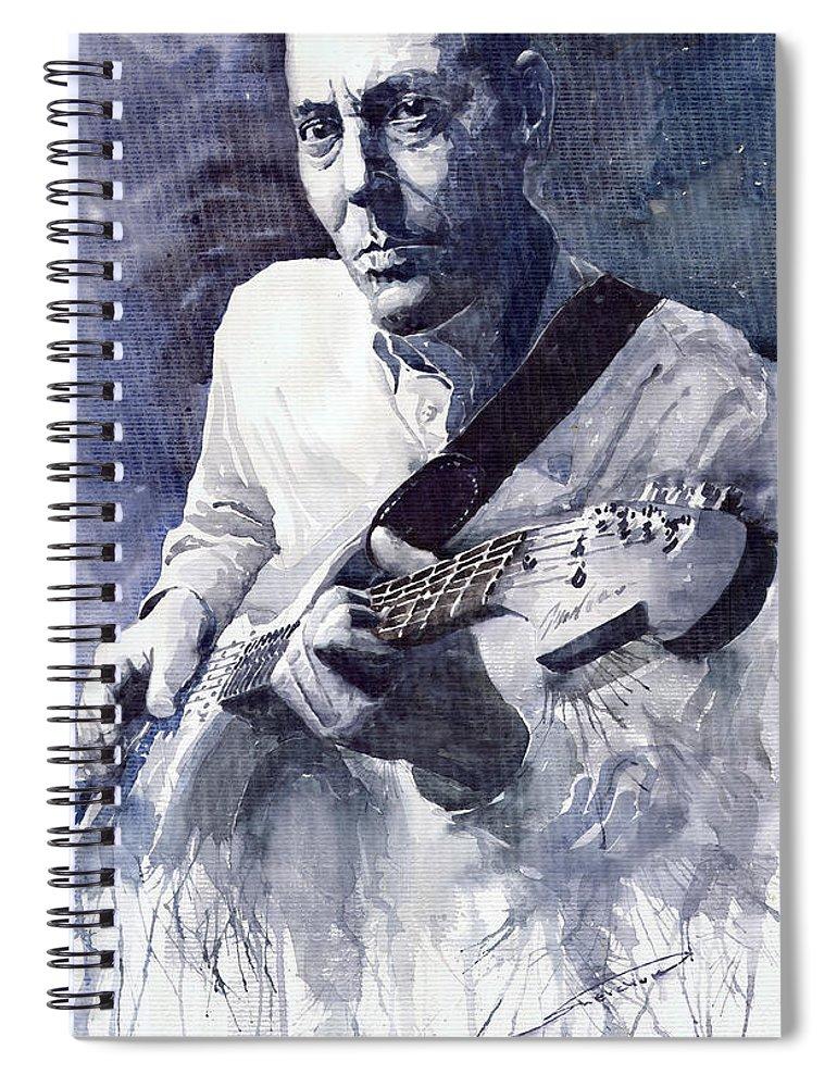 Blues Spiral Notebook featuring the painting Jazz Guitarist Rene Trossman by Yuriy Shevchuk