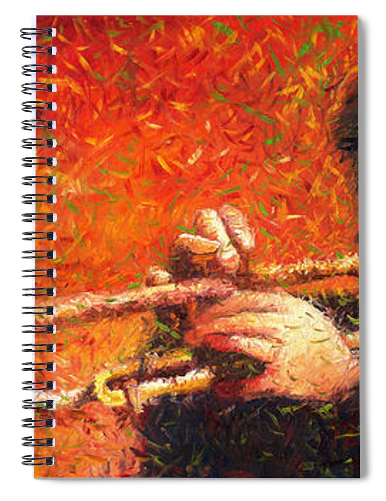Jazz Spiral Notebook featuring the painting Jazz Trumpeter by Yuriy Shevchuk