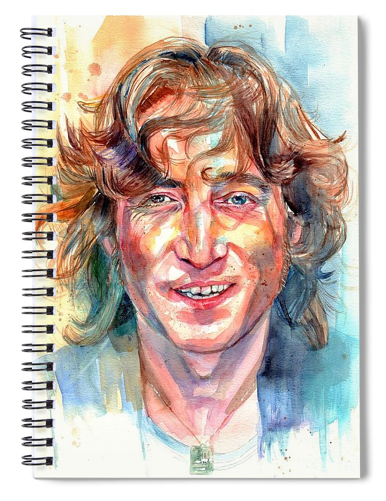 John Lennon Spiral Notebook featuring the painting John Lennon portrait by Suzann Sines