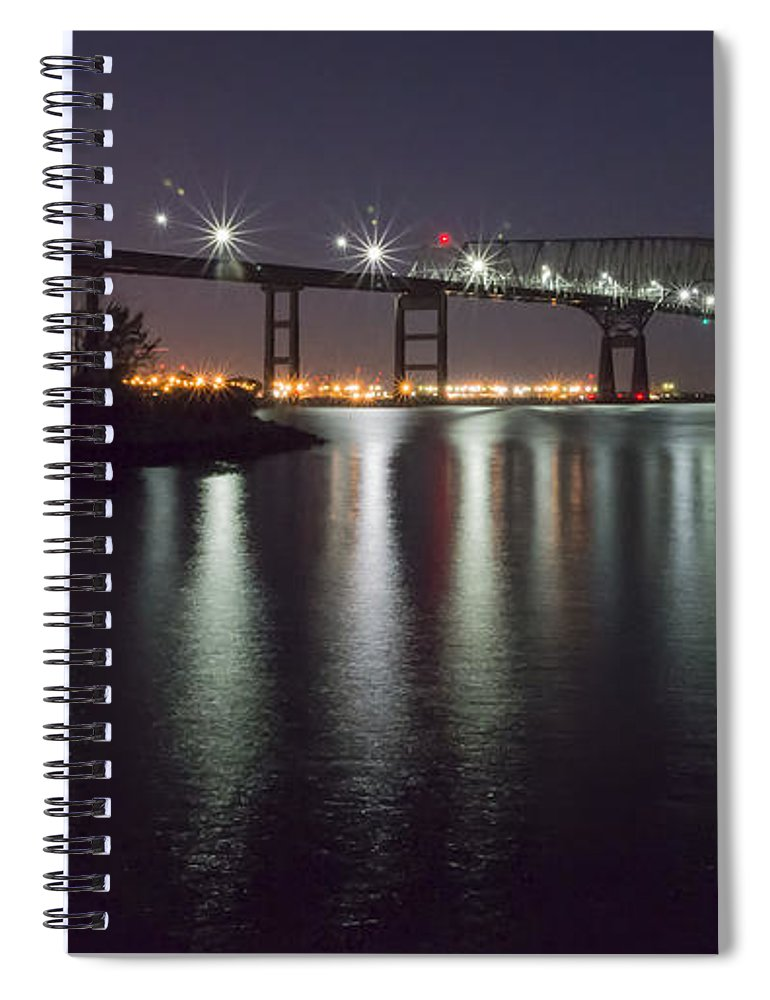 2d Spiral Notebook featuring the photograph Key Bridge At Night by Brian Wallace