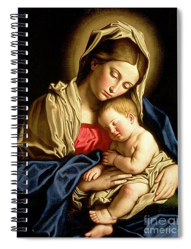 Mary Spiral Notebook featuring the painting Madonna And Child by Il Sassoferrato