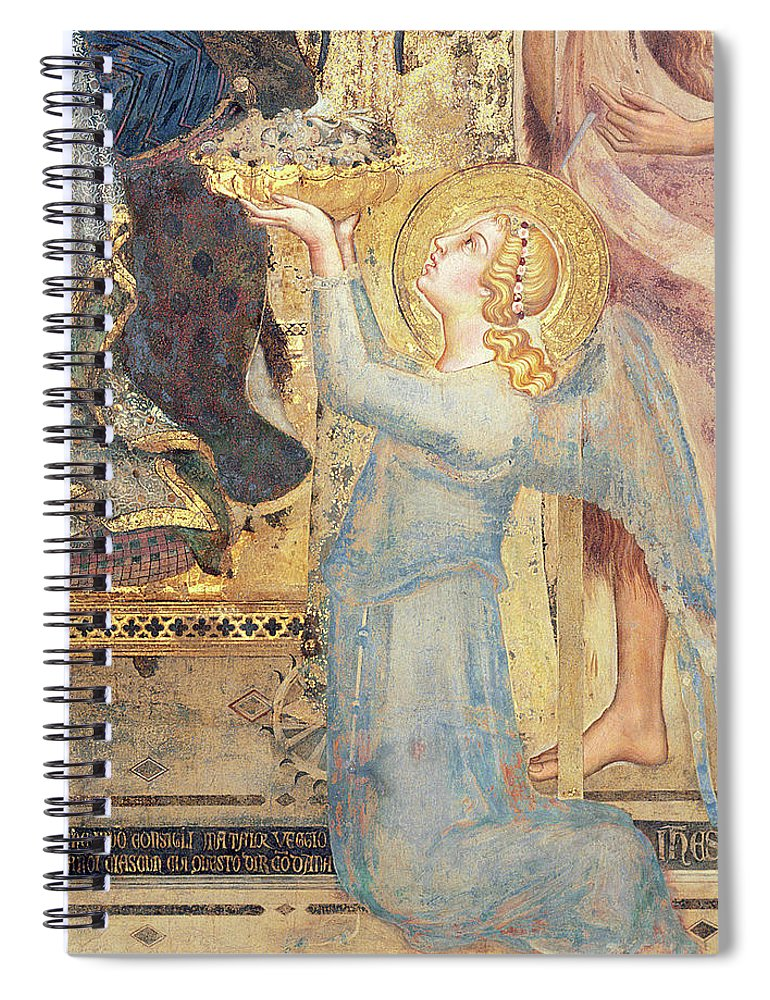 Maesta Spiral Notebook featuring the painting Maesta Angel Offering Flowers To The Virgin by Simone Martini