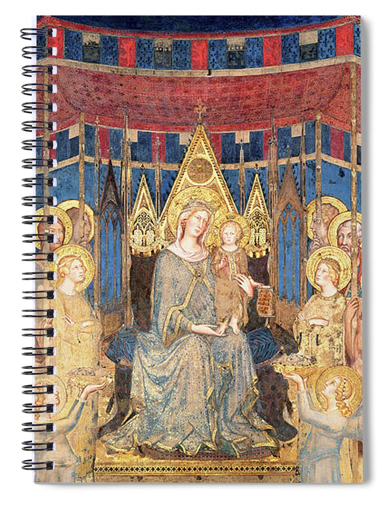 Early Renaissance Spiral Notebook featuring the painting Maesta by Simone Martini