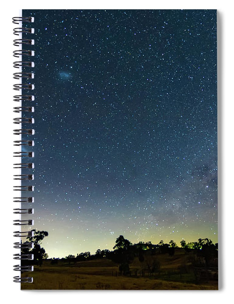 Astro Spiral Notebook featuring the photograph Milky Way And Countryside by Merrillie Redden