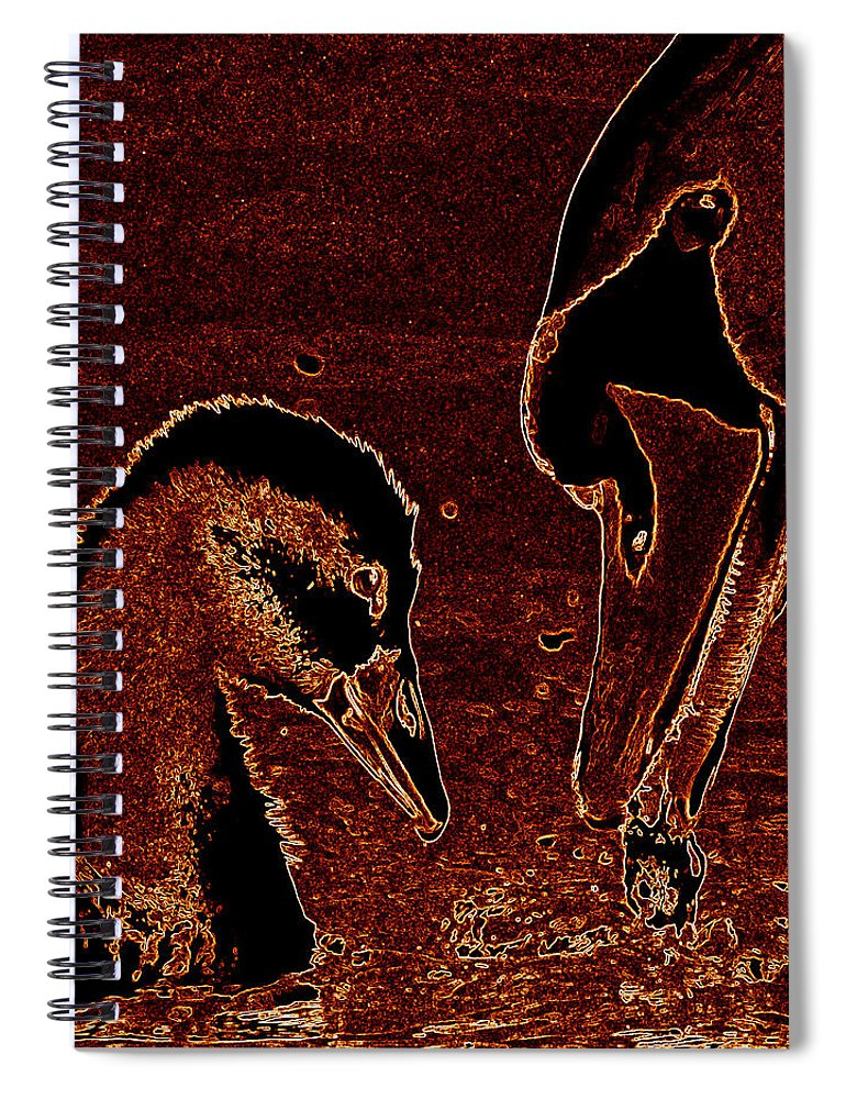 Swan Spiral Notebook featuring the photograph Mother Swan And Cygnet by James Hill