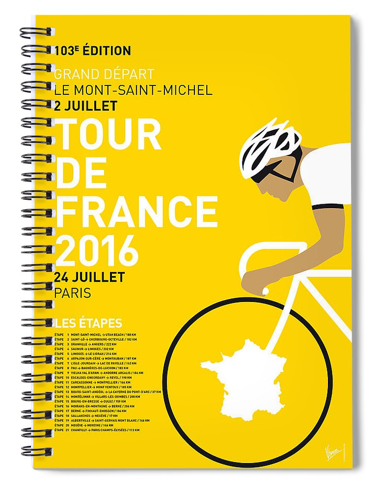 2016 Spiral Notebook featuring the digital art My Tour De France Minimal Poster 2016 by Chungkong Art