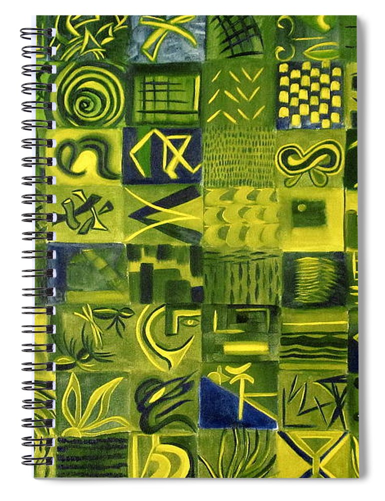 Green Spiral Notebook featuring the painting Night On The Lawn by Patricia Cleasby