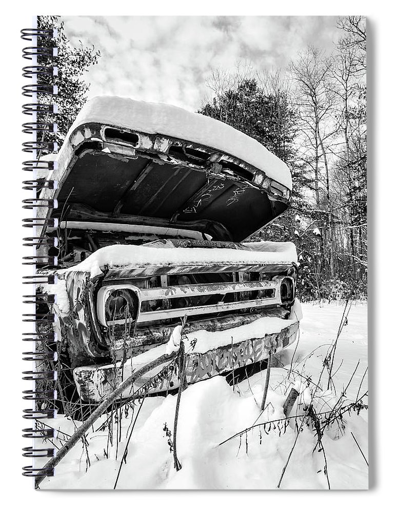 Newport Spiral Notebook featuring the photograph Old Abandoned Pickup Truck in the Snow by Edward Fielding