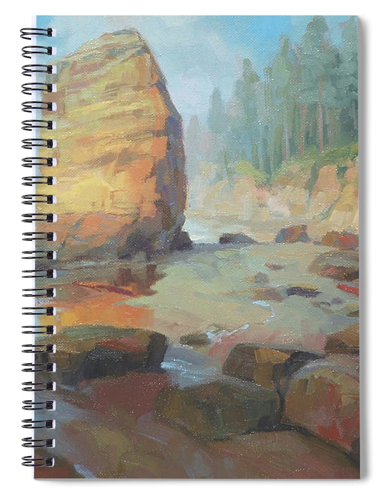 Coast Spiral Notebook featuring the painting Otter Rock Beach by Steve Henderson