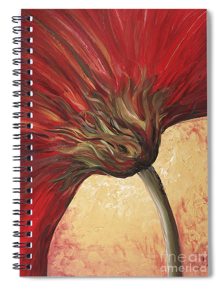 Floral Spiral Notebook featuring the painting Power of Red by Nadine Rippelmeyer