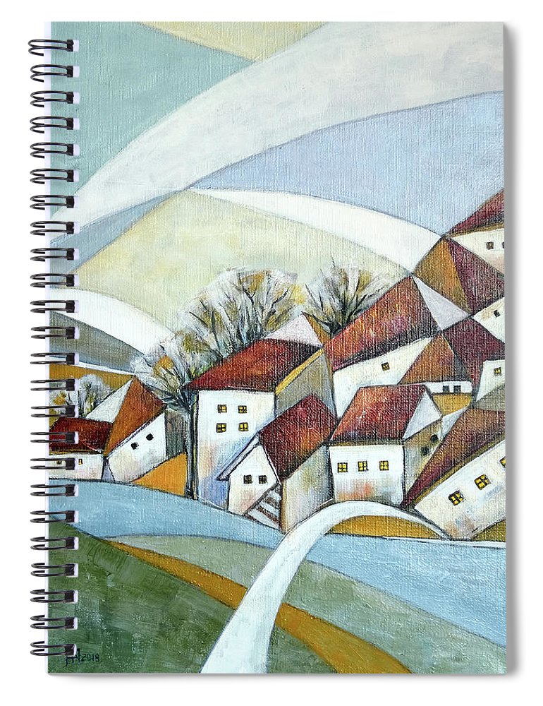 Abstract Spiral Notebook featuring the painting Quiet Village by Aniko Hencz