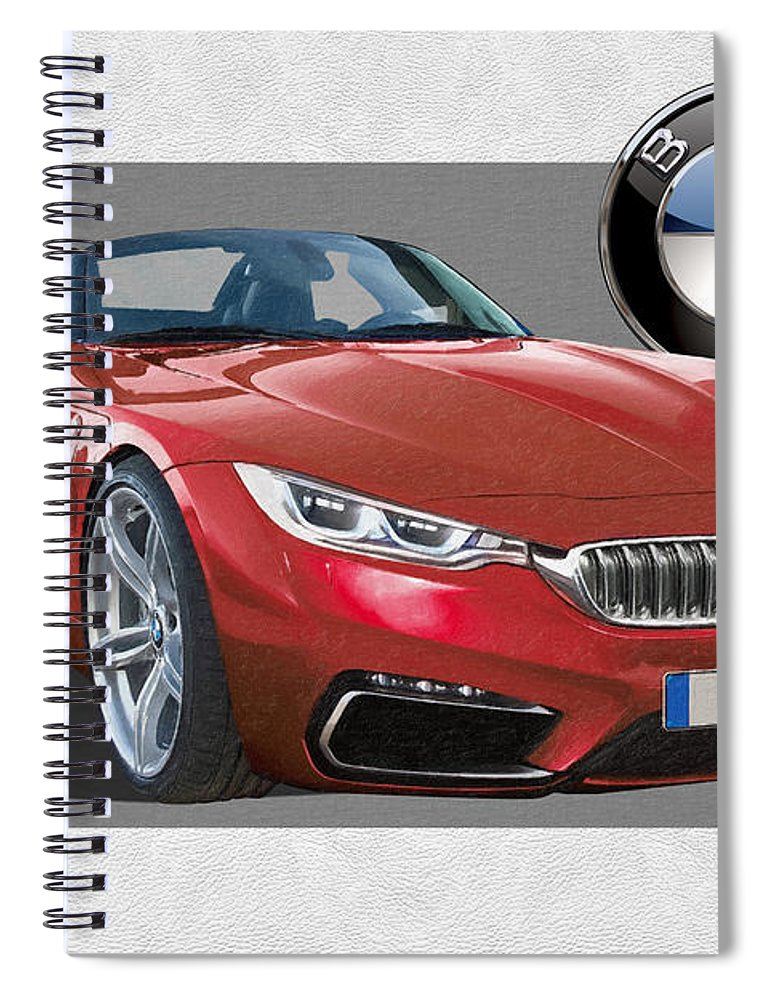�bmw� Collection By Serge Averbukh Spiral Notebook featuring the photograph Red 2018 B M W Z 5 With 3 D Badge by Serge Averbukh