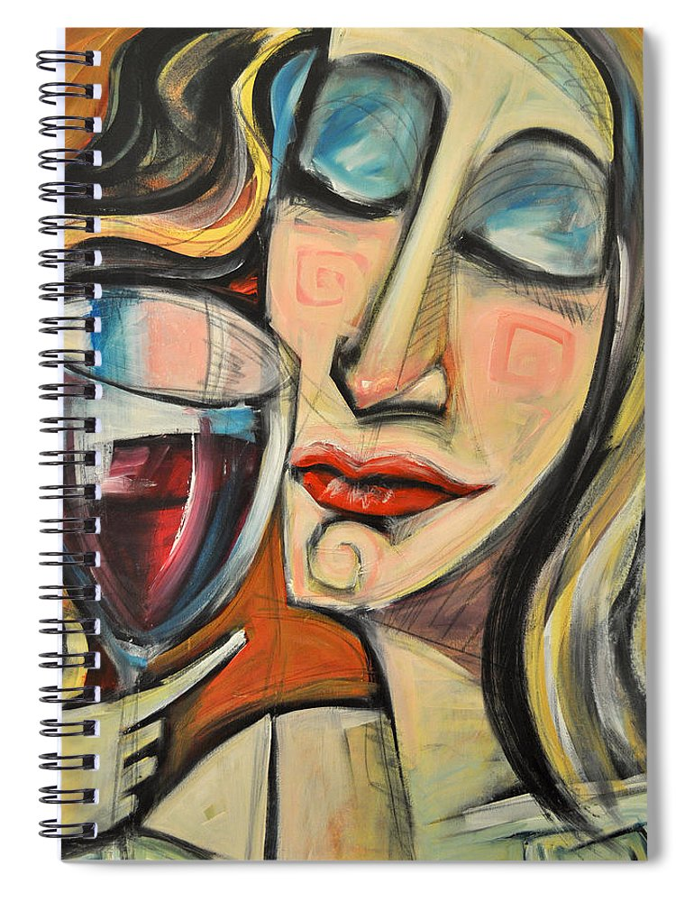 Wine Spiral Notebook featuring the painting Savoring The First Sip by Tim Nyberg