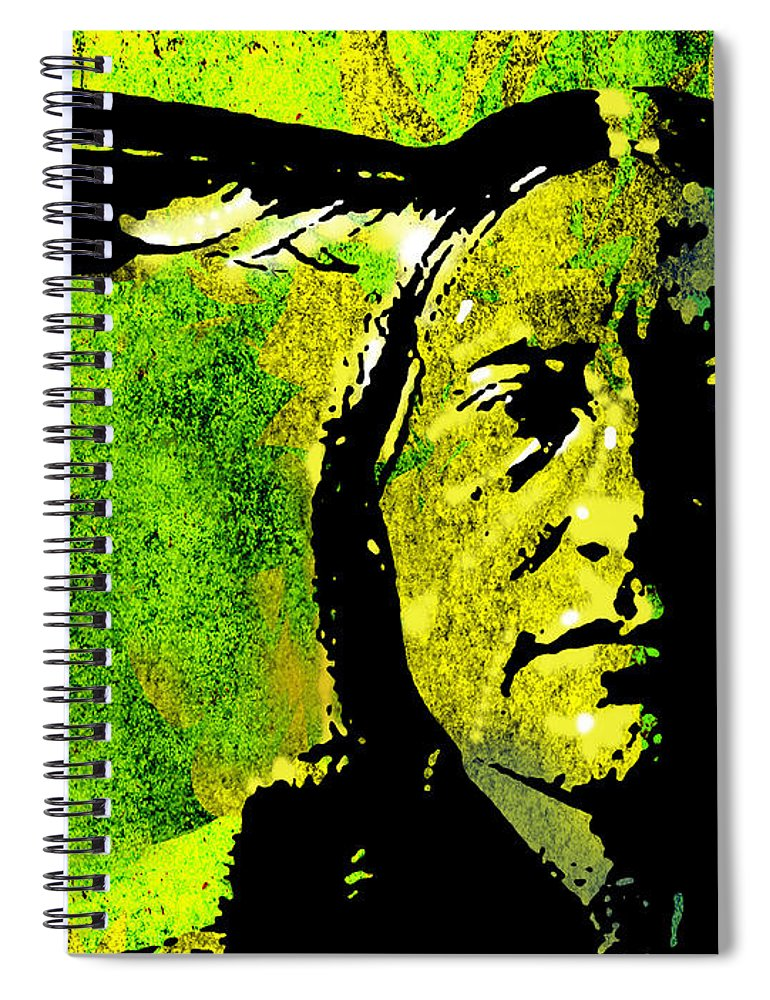 Native American Spiral Notebook featuring the painting Scabby Bull by Paul Sachtleben