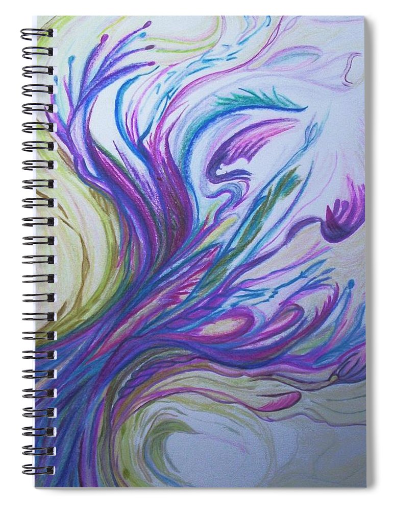 Abstract Spiral Notebook featuring the painting Seaweedy by Suzanne Udell Levinger