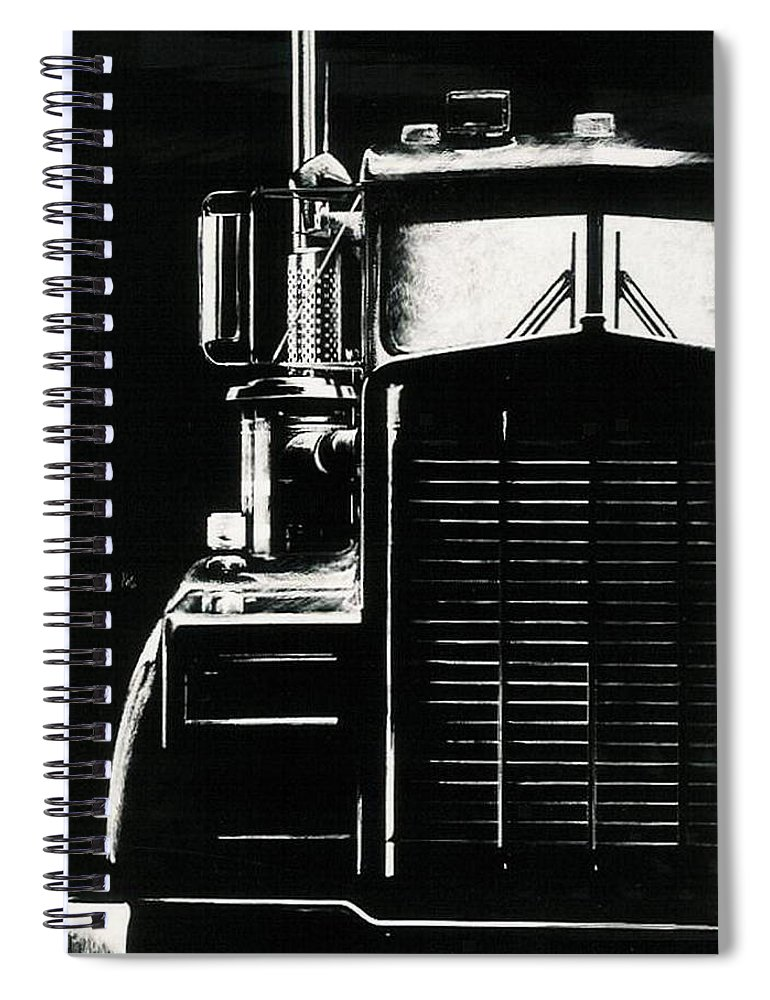 Vehicle Spiral Notebook featuring the drawing Semi by Barbara Keith