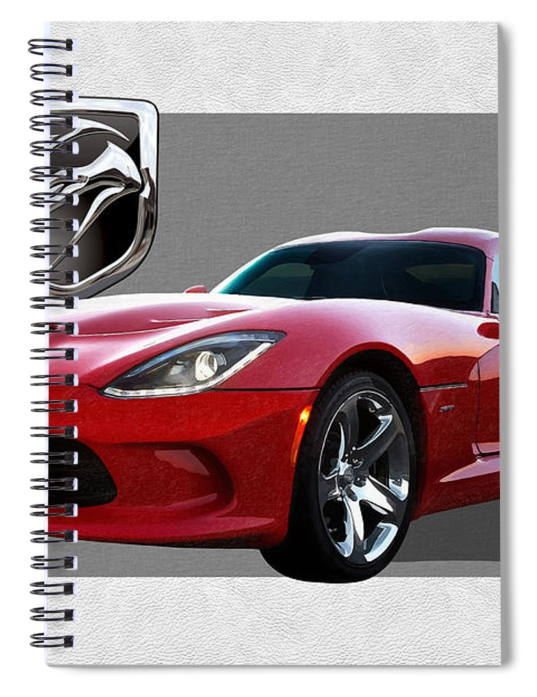 'dodge Viper' By Serge Averbukh Spiral Notebook featuring the photograph S R T Viper with 3 D Badge by Serge Averbukh