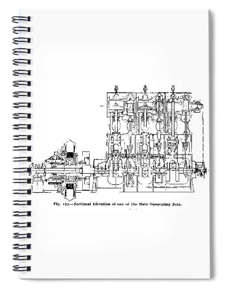 science spiral notebook featuring the photograph steam engine diagram,  titanic, 1911 by science source