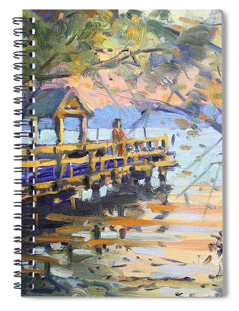 Sunset Spiral Notebook featuring the painting Sunset At Fishermans Park by Ylli Haruni