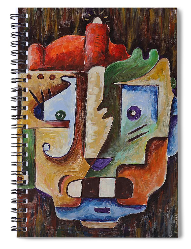 Surrealismo Spiral Notebook featuring the painting Surrealism Head by Sotuland Art