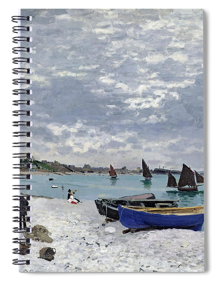 Coastal;french;rowing Boat;sailing;sainte Adresse; Boats Spiral Notebook featuring the painting The Beach At Sainte Adresse 1 by Claude Monet