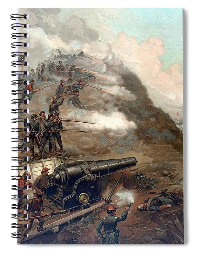 Civil War Spiral Notebook featuring the painting The Capture Of Fort Fisher 4 by War Is Hell Store