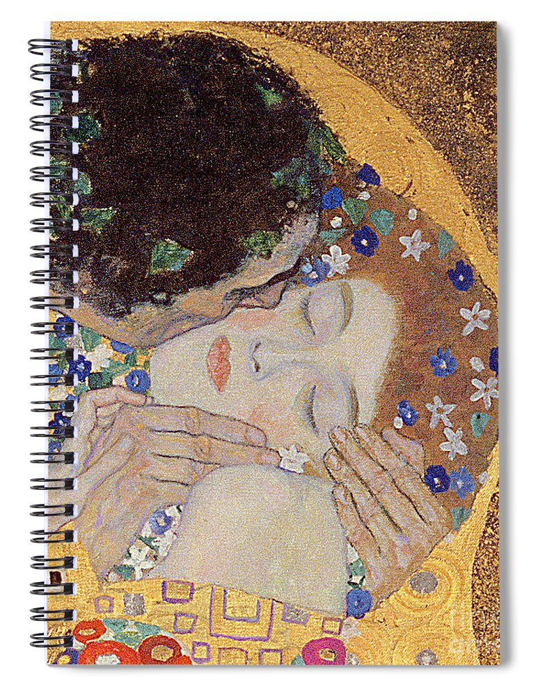 Klimt Spiral Notebook featuring the painting The Kiss by Gustav Klimt