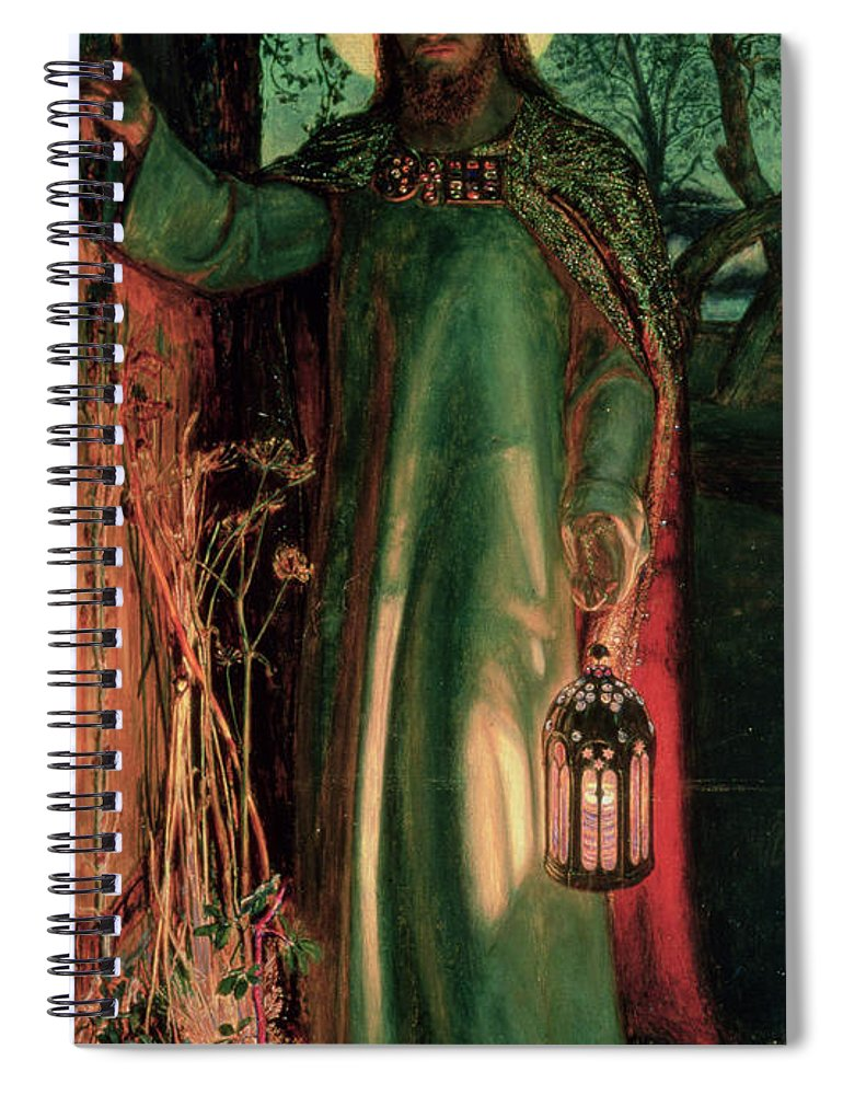 Jesus Spiral Notebook featuring the painting The Light Of The World by William Holman Hunt
