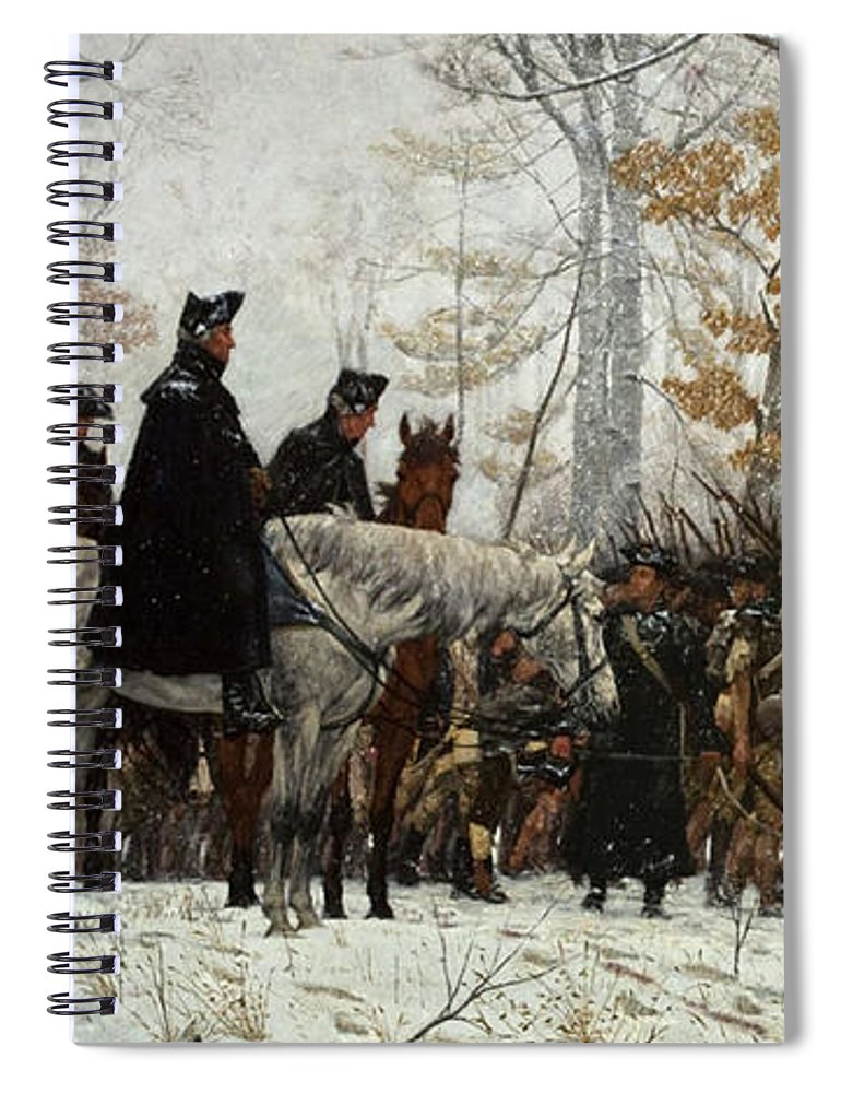 March Spiral Notebook featuring the painting The March To Valley Forge by William Trego