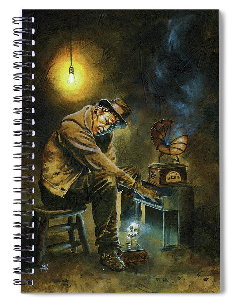 Tom Waits Spiral Notebook featuring the painting Tom Waits by Ken Meyer jr