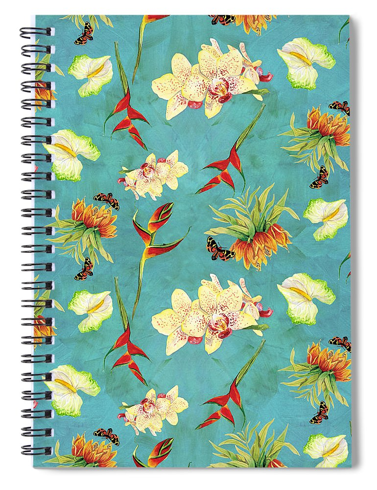 Orchid Spiral Notebook featuring the painting Tropical Island Floral Half Drop Pattern 1 by Audrey Jeanne Roberts
