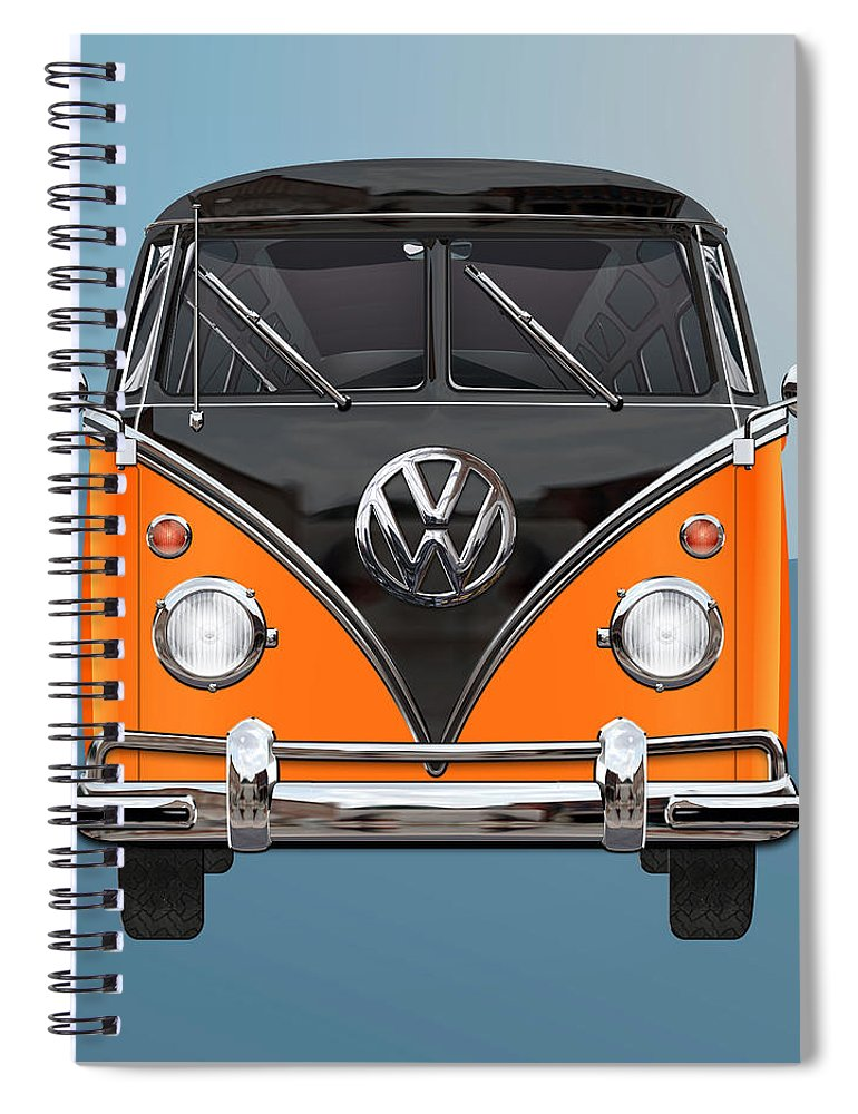 'volkswagen Type 2' Collection By Serge Averbukh Spiral Notebook featuring the photograph Volkswagen Type 2 - Black and Orange Volkswagen T 1 Samba Bus over Blue by Serge Averbukh