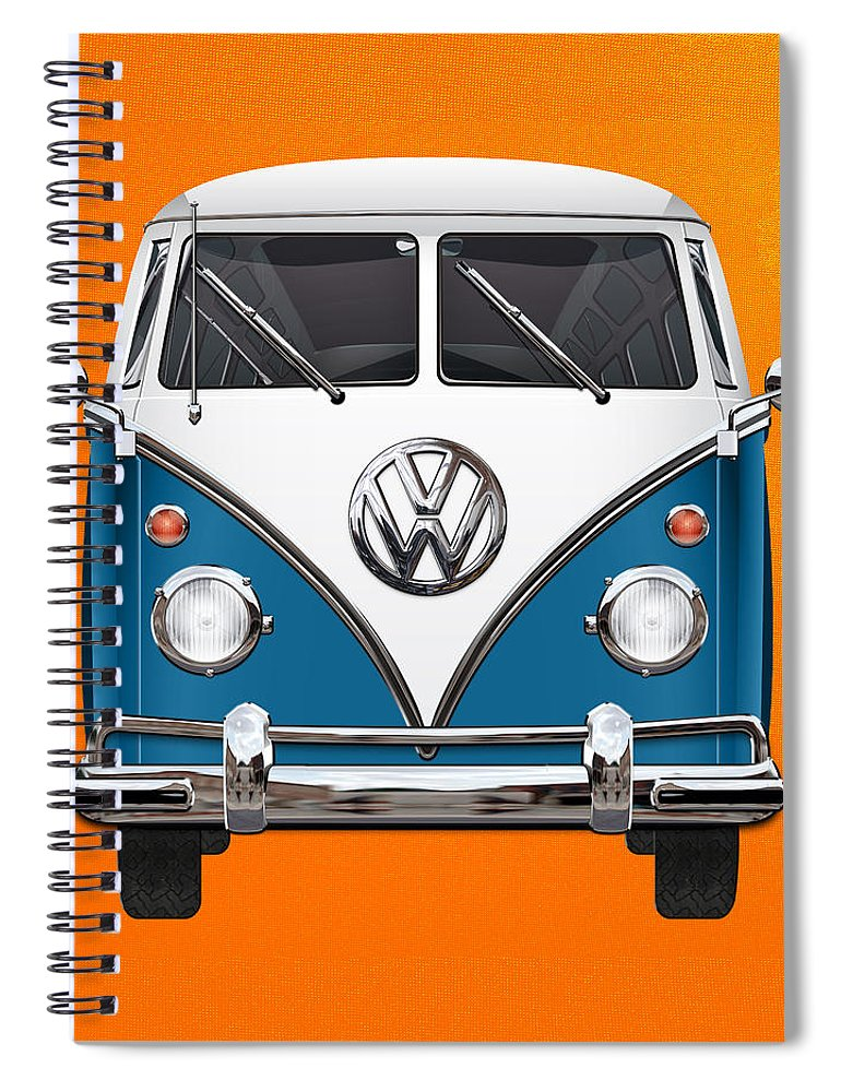 'volkswagen Type 2' Collection By Serge Averbukh Spiral Notebook featuring the photograph Volkswagen Type 2 - Blue And White Volkswagen T 1 Samba Bus Over Orange Canvas by Serge Averbukh