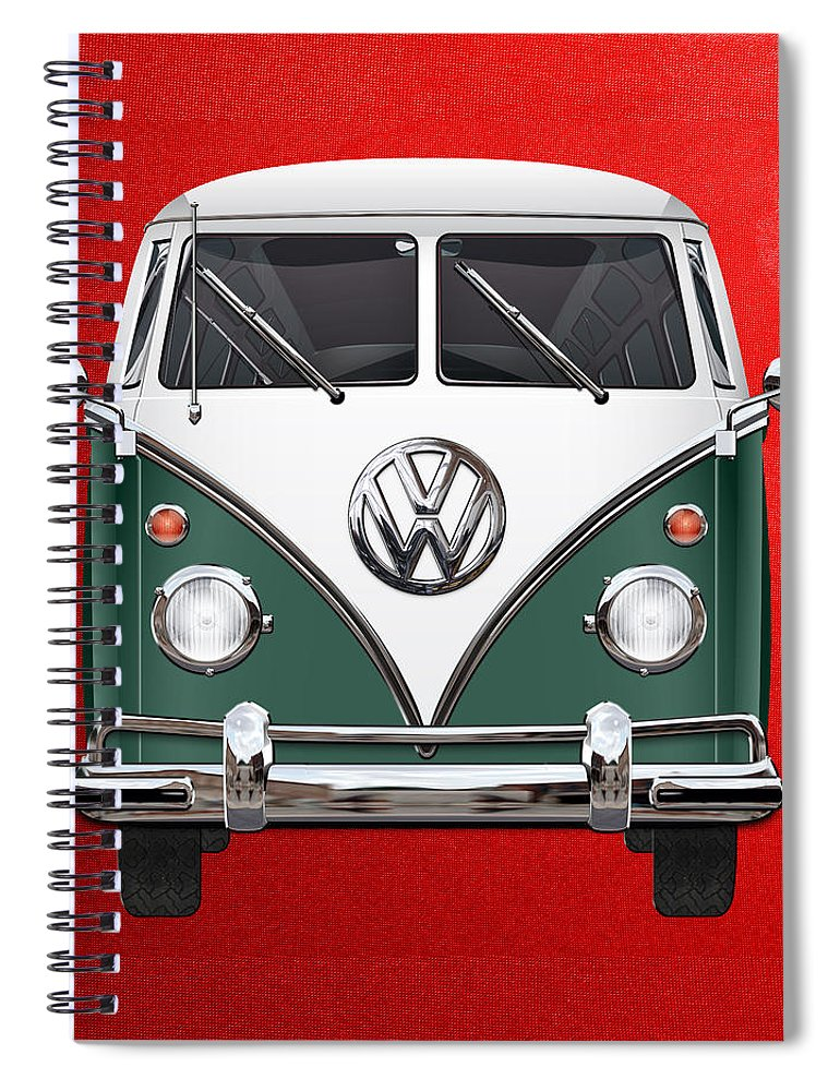 'volkswagen Type 2' Collection By Serge Averbukh Spiral Notebook featuring the photograph Volkswagen Type 2 - Green and White Volkswagen T 1 Samba Bus over Red Canvas by Serge Averbukh