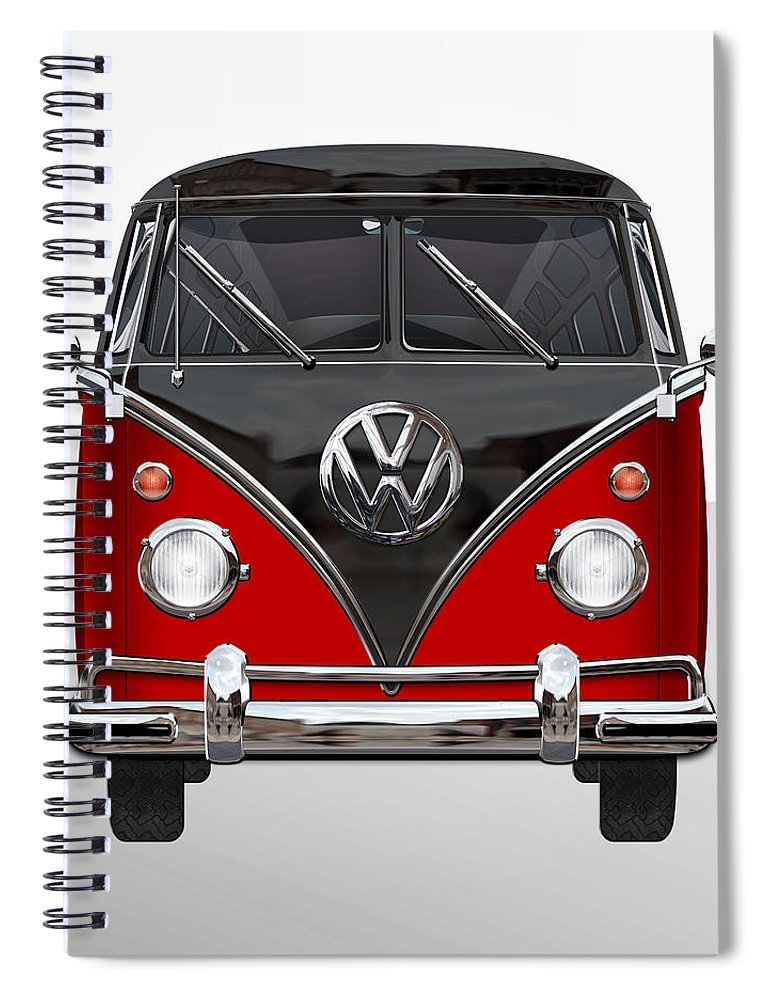 'volkswagen Type 2' Collection By Serge Averbukh Spiral Notebook featuring the photograph Volkswagen Type 2 - Red And Black Volkswagen T 1 Samba Bus On White by Serge Averbukh