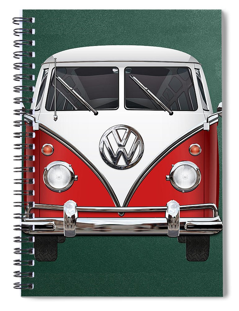 'volkswagen Type 2' Collection By Serge Averbukh Spiral Notebook featuring the photograph Volkswagen Type 2 - Red and White Volkswagen T 1 Samba Bus over Green Canvas by Serge Averbukh
