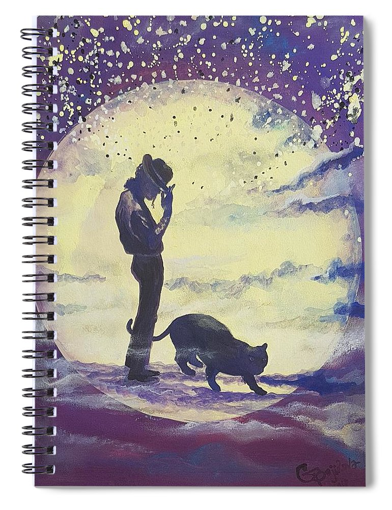 Spiral Notebook featuring the mixed media Walk To The Moon by Gergana Bojikova