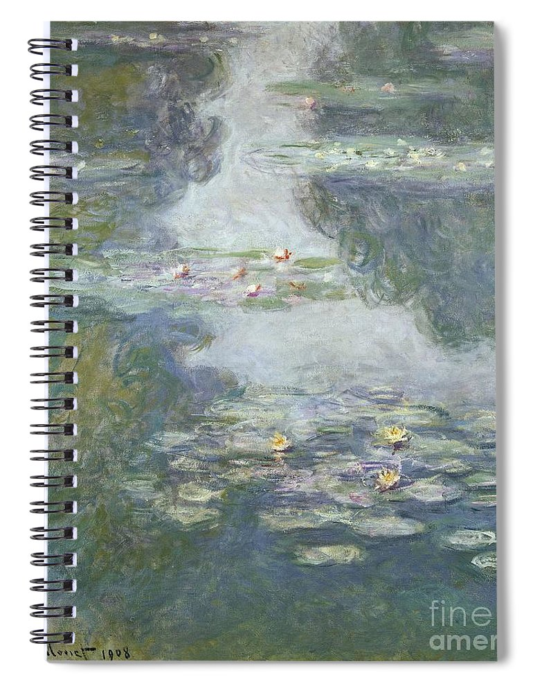 Pads Spiral Notebook featuring the painting Waterlilies by Claude Monet