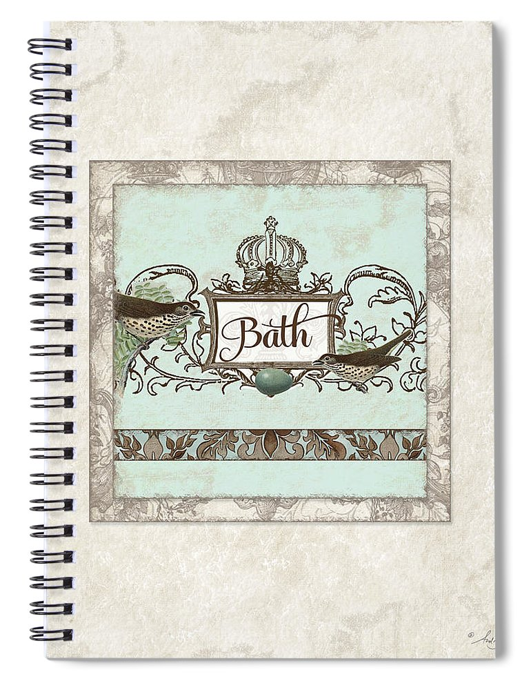 Robin Spiral Notebook featuring the painting Welcome To Our Nest - Bath Vintage Birds W Crown by Audrey Jeanne Roberts