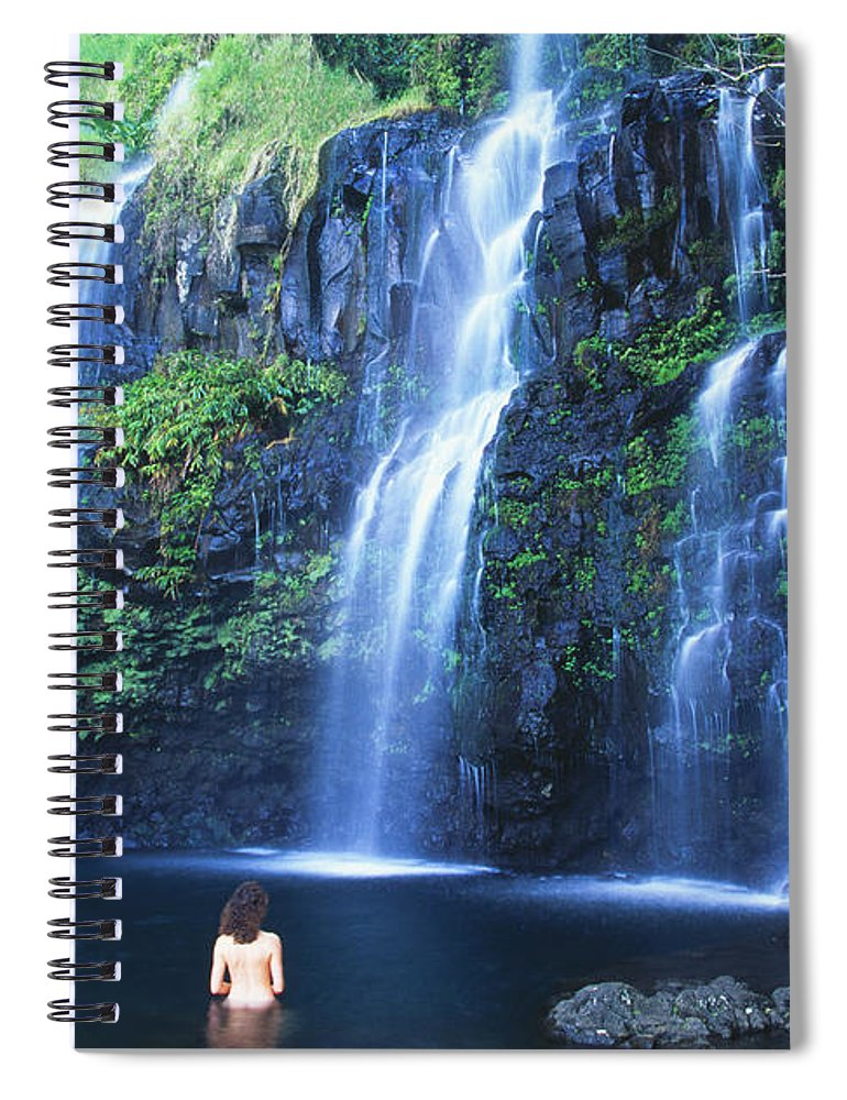 Base Spiral Notebook featuring the photograph Woman At Waterfall by Dave Fleetham - Printscapes