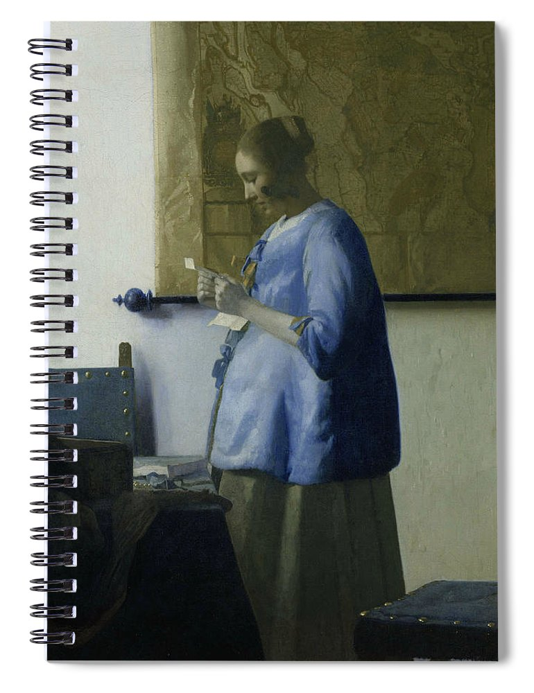 Jan Vermeer Spiral Notebook featuring the painting Woman Reading A Letter by Jan Vermeer