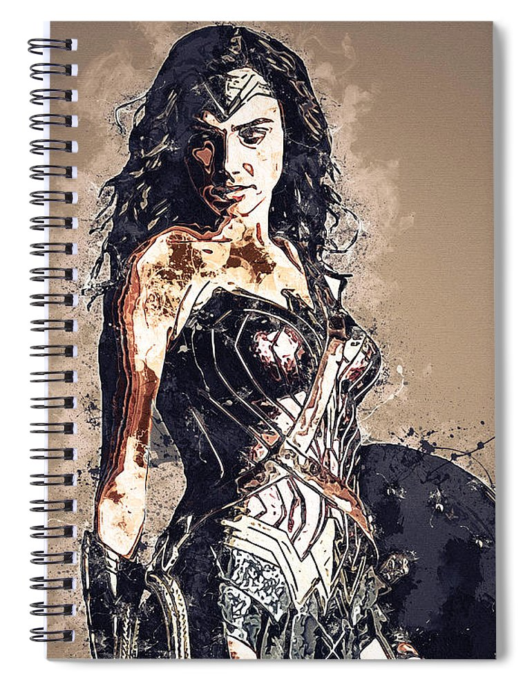 Batman Spiral Notebook featuring the digital art Wonder Woman by Nadezhda Zhuravleva