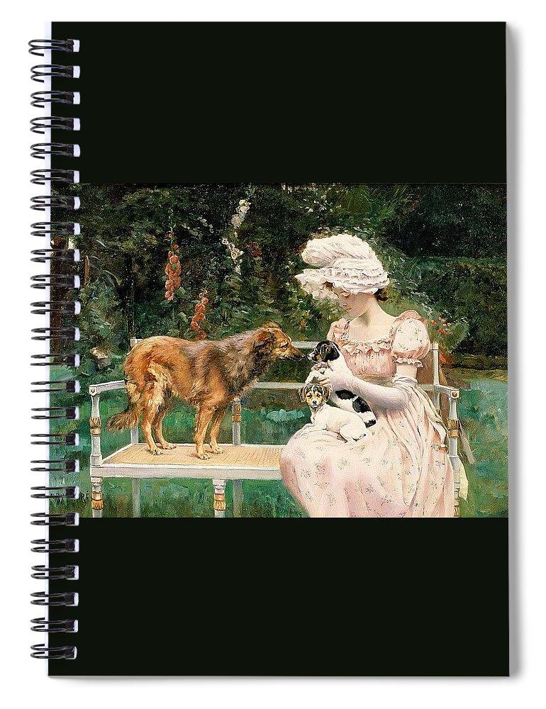 Terrier Spiral Notebook featuring the digital art Charles Henry Tenre by Eloisa Mannion