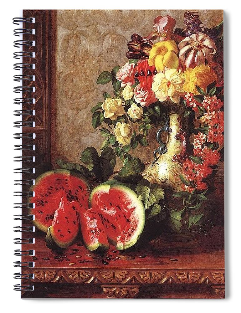 Vase Spiral Notebook featuring the digital art bs- George Henry Hall- Still Life George Henry Hall by Eloisa Mannion