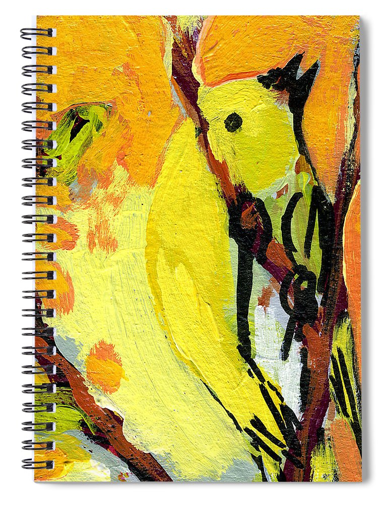 Bird Spiral Notebook featuring the painting 16 Birds No 1 by Jennifer Lommers