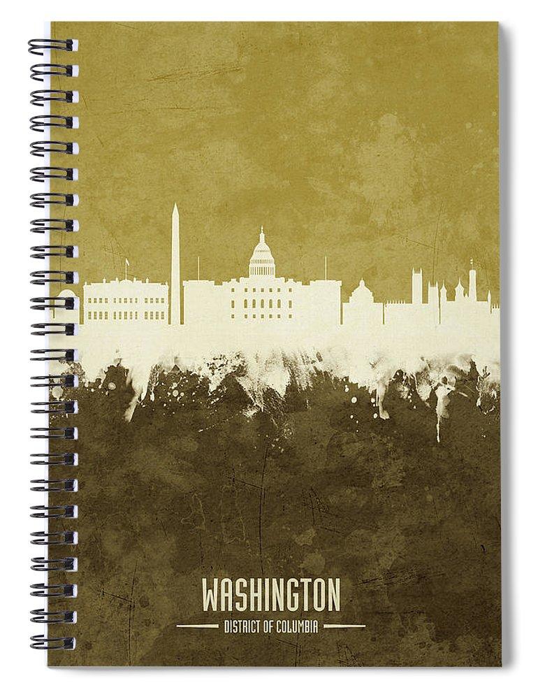 Washington Spiral Notebook featuring the digital art Washington Dc Skyline by Michael Tompsett